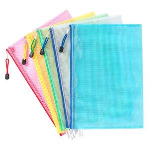 10шт портативный утолщенный файл папка Организатор сумки сетки молнии прозрачный файл папка PVC пакеты хранения организатор VTKY2296