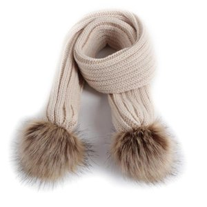 Luxury-Lovely Double Pompom Kids Scarf Winter Knitted Warm Scarves Solid Color Children Boys Girls Neckerchief Scarf