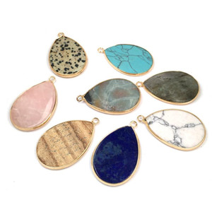 Natural Stone Pendants & Necklace Water Drop Shape Stainless Steel Jewelry Fashion Pendants for Jewelry Making Supplies 25x38mm