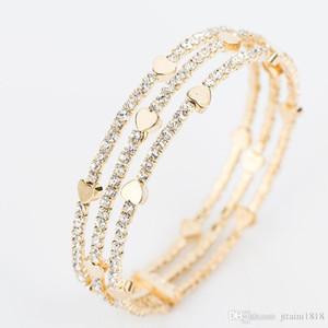 Мода элегантные браслеты браслеты женщины 3 ряда браслет кристалл манжета подходит для ношения, а также давая