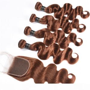 # 30 светло-коричневые волосы для волос для тела волос с закрытием 100% необработанные бразильские человеческие волосы плетение 10a классы волны тела с закрытием