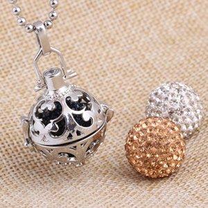 Moda Hollow Bell Mulheres Aço Inoxidável Longa Ball Chain Cristal Bola Pingente Colar