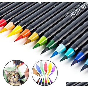 20 color markers set watercolor painting pens soft brush pen kit for art supplies book manga comic calligraphy marker y200709 hIZl5