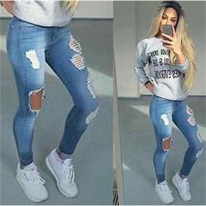 Hot Stylish Women's Pencil Stretch Casual Hole Denim Pants High Waist Jeans Trousers