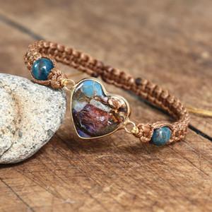 Apatite Heart Shape Forme Charme Bracelets tressés Yoga Guérison Énergie Amitié Amover Wrap Bracelet Femmes Hommes Bijoux à la main