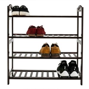 High Quality Concise 12-Batten 4 Tiers Bamboo Shoe Rack Coffee Storage Closet US