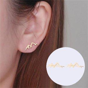 Minimalist Mountain Stud Earrings For Women Nature Landscape Mountain Ear Climber Earrings Geography Jewelrys Hiker Gifts