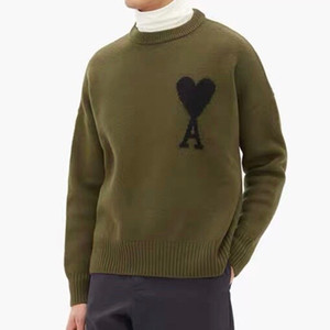 Ami Men Sweater Femmes O Coulée Pull Solide Pull Solid Heart Mattiussi Couleur Solide Hiver Automne Harajuku Flamme Knited Sans manches longues