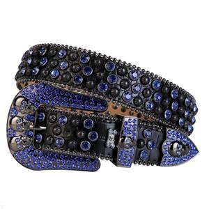 Cowboy occidentale Bling Swarovski cristallo di cristallo della cinghia di coccodrillo di coccodrillo con borchie cintura per unghie rimovibile per le donne e gli uomini