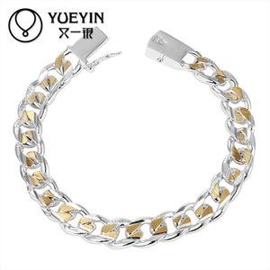 Torcido Cingapura cadeia de prata banhado pulseira para mulheres homens unisex jóias hand chain h091 vintage lindamente