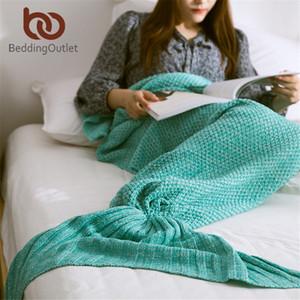 BeddingOutlet Mermaid Throw Blanket Handmade Mermaid Tail Blanket for Adult Kid Multi Colors 3 Size Soft Crochet Mermaid Blanket 201113