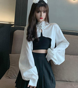 Chinese Style Women Short Shawl Tops Woman Cheongsam Capes Femme Long Sleeve Short Cardigans Woman White Crop Tops