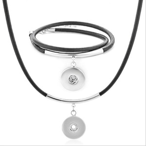 Snap jewelry NOOSA 12mm Snap Button Pendant Necklace Bracelet Set Genuine Leather Jewelry ps1999