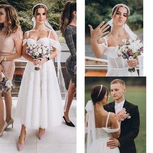 2021 Tea Length Wedding Dresses Cold Shoulder Unique Sequined Tulle Open Back Bridal Party Dress For Women Wedding Dress Vestidos De Novia