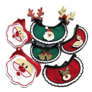 Dogs Bibs Christmas Dog Knitted Bandana Pet Supplies Accessories for Dogs Scarf Pets puppy Appare Accesorios Elk Hair Ornaments DHD3199