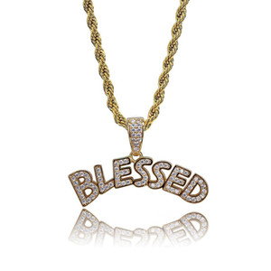 Blessed Iced Out Necklace & Pendant Statement Letters Gold Color Cubic Zircon Necklace Hip Hop Men Women Jewelry Gifts