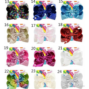 8 pollici Paillettes Capelli Arco Clip Glitter Mermaid Hairpin Big Bowknot Gruppo di forcini Pendenza Paillette Barrettes Baby Girls Accessori per capelli Regali