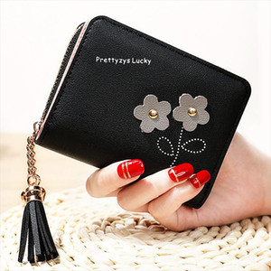 Coin Purses Cards Holder Tassels Zipper Heart Moneybags Woman Wallet Bags Lady Short Purse Girls Notecase Pocket Flower Wallets
