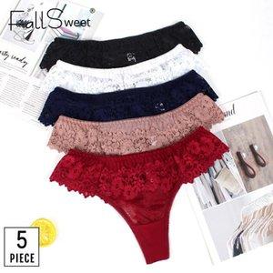 FallSweet 5 PC / porción! Interior del cordón del G-String tanga T Volver Femmer atractivo de la ropa interior de las mujeres cintura baja S a la XL