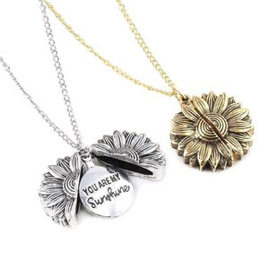 Engraved You Are My Sunshine sunflower Locket necklace pendant fashion jewelry women necklace will and sandy fashion jewelry