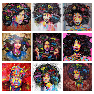 Colorful Black Hair Woman Diamond Painting 5D DIY Full Square Round Drill Diamond Embroidery Mosaic Art African Home Decor Art
