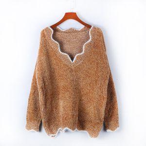 Cross-Border 2020 Otoño e invierno Nuevo Ropa para mujer Cuello en V Casual Lindo Jersey Multi-color Knit Cintura baja Jersey