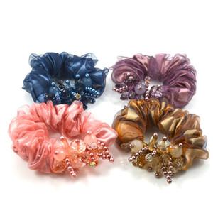 Stoffkunst Strass Hair Seil Schmuck Perle Kristall Gummi String Elastische Damen Frauen Kopfkopfform Mode Solide Farbe Kopfbedeckung 5 3QF M2
