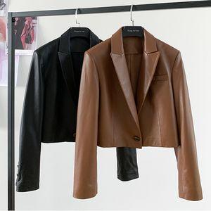 Nerazzurri Braun Getreide Lederjacke Frauen Langarm Leder Blazer Frauen Schwarz Leder Top Plus Größe Kleidung Für Frauen LJ201012