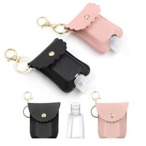 2pcs Empty Travel Bottle And Keychain Holder Travel Bottle Empty Hand Sanitizer Bottles Container Leather C jllZZp