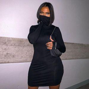 High-neck 2020 fashion winter turtleneck mask type dress women's long sleeve lucky label black slim mask one piece dress