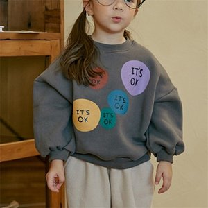 Winter Clothes New Baby Boys and Girls Sweatshirt Children's Cartoon Letters Tees Kids Korean Style Loose Fleece Pullovers Top Z1119