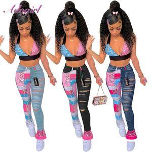 Женские джинсы женщин Pasiley Bandannana Patchwork вырезать отверстие Bell buttom широко ноги Леггинсы вспышки джинсовые съемки
