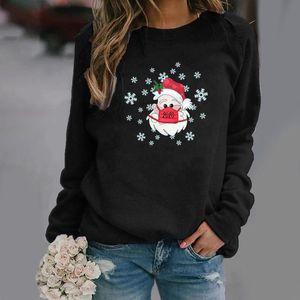 Fashion Women Print Long-Sleeved Sweatshirt Large Size Mask Santa Claus Christmas Sweatshirt Warm Pullover Tops Streetwear#1028