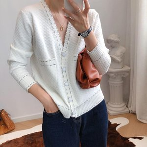 CINESSD Women Early Autumn New Short Sweaters Jacket Women's Loose Single Breasted Cardigan Knitted Sweater Black White Tops T
