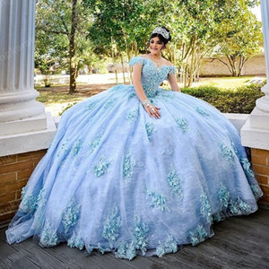 2021 Bahama Blue Quinceanera Dresses Ball Gowns Hand Made Flowers Applique Off The Shoulder Sweet 16 Dress Lace Prom Pageant Graduation Dres