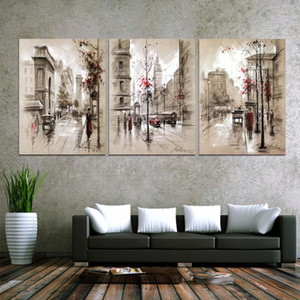 Canvas Posters Home Decor For Living Room Framework HD Prints Pictures 3 Pieces Abstract City Street Landscap Paintings Wall Art