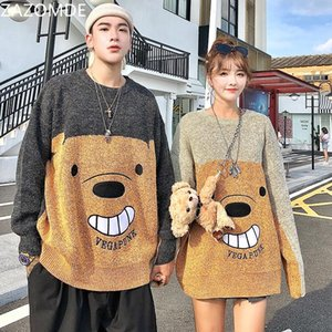 ZAZOMDE Funny Bear Oversize Sweaters Men 2020 Winter High Streetwear Fashion Mens Pullovers Round Neck Vintage Couple