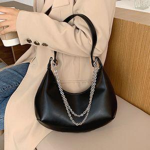 Half Moon Small Pure Color Chain PU Leather Shoulder Crossbody Bag Women High quality designer fashion Handbag and purse Q1119