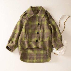 Cthink 100% lana cappotto corto donne abbassando il colletto asimmetria manica di batwing cappotti per donna elegante moda coat1