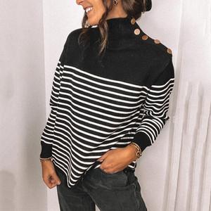Moda Womens Trackted Stripes Impresso Camisolas das Mulheres Com Botão Manga Longa Roupas De Designer de Alto Neck 2021