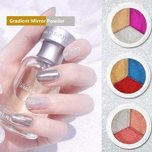 3D Uñas Arte de tres colores Gradiente de Gradiente Polvo Impermeable Acrílico Solidante Sólido Estado Magic Mirror Herramientas de manicura