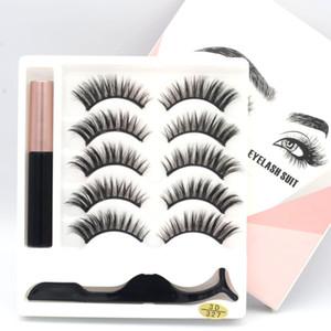 5 in 1 Mascara Plus Eyelash Clip Eyeliner Eyelash Suit 3D Magnet Eyelash New Arrival TOP SALE Synthetic Semi Manual Chemical Fiber Eyelashes