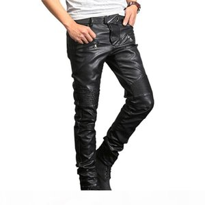 New France Style Mens Ripped Moto Pants Ribbed Skinny Black PU Leather Biker Slim Trousers Pencil Pants Size 29-40