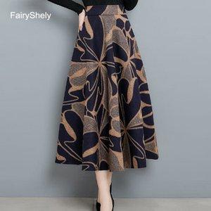 FariyShely Vintage Print High Waist Pleated Skirt Women 2020 Autumn Winter Woolen Long SKirt Flared Poncho Midi Skirt Plus Size Z1122