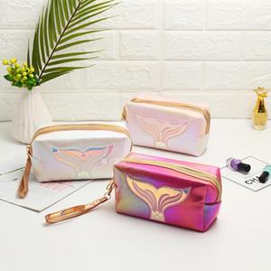PU Laser Colorful Makeup Bag Women Cartoon Fish Tail Embroidery Cosmetic Bag Neceser Mujer Handbag Makeup Pouch Kosmetyczka Sac