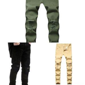 HHLK Verão Marca Algodão Loycell Jean Casl Candy Color Apertado Elástico Cintura Completa Mens Calças Jeans Comprimento Mid Cintura Calças Calças