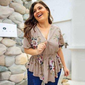 2020 Summer Big Size Blouse Women Floral Blouse Shirt Women Plus Size Ladies Oversize V neck For 3XL 4XL