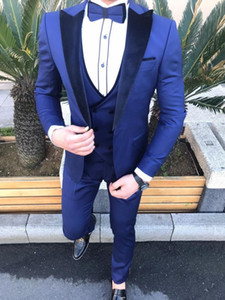 Brand New Groomsmen Royal Blue Groom Tuxedos Peak Lapel Men Suits Wedding Prom Dinner Best Man Blazer ( Jacket+Pants+Tie+Vest ) G60