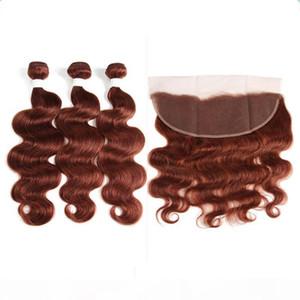 Волна тела # 33 Темный Оберн Полное кружевное лобное закрытие 13x4 с Weaves 3PCS Wefts Extensions Virgin Brazilian Медь красных волос