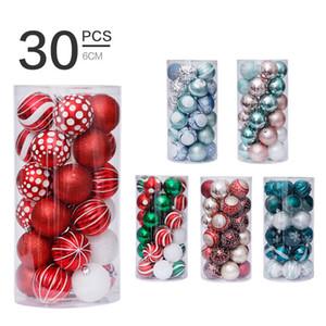 Nuevas decoraciones navideñas 6cm / 30 unids Árbol de Navidad Colgante Conjunto con anormidad pintada Bola de Navidad 6 Estilo Coloreado Bola decorativa GWF3844